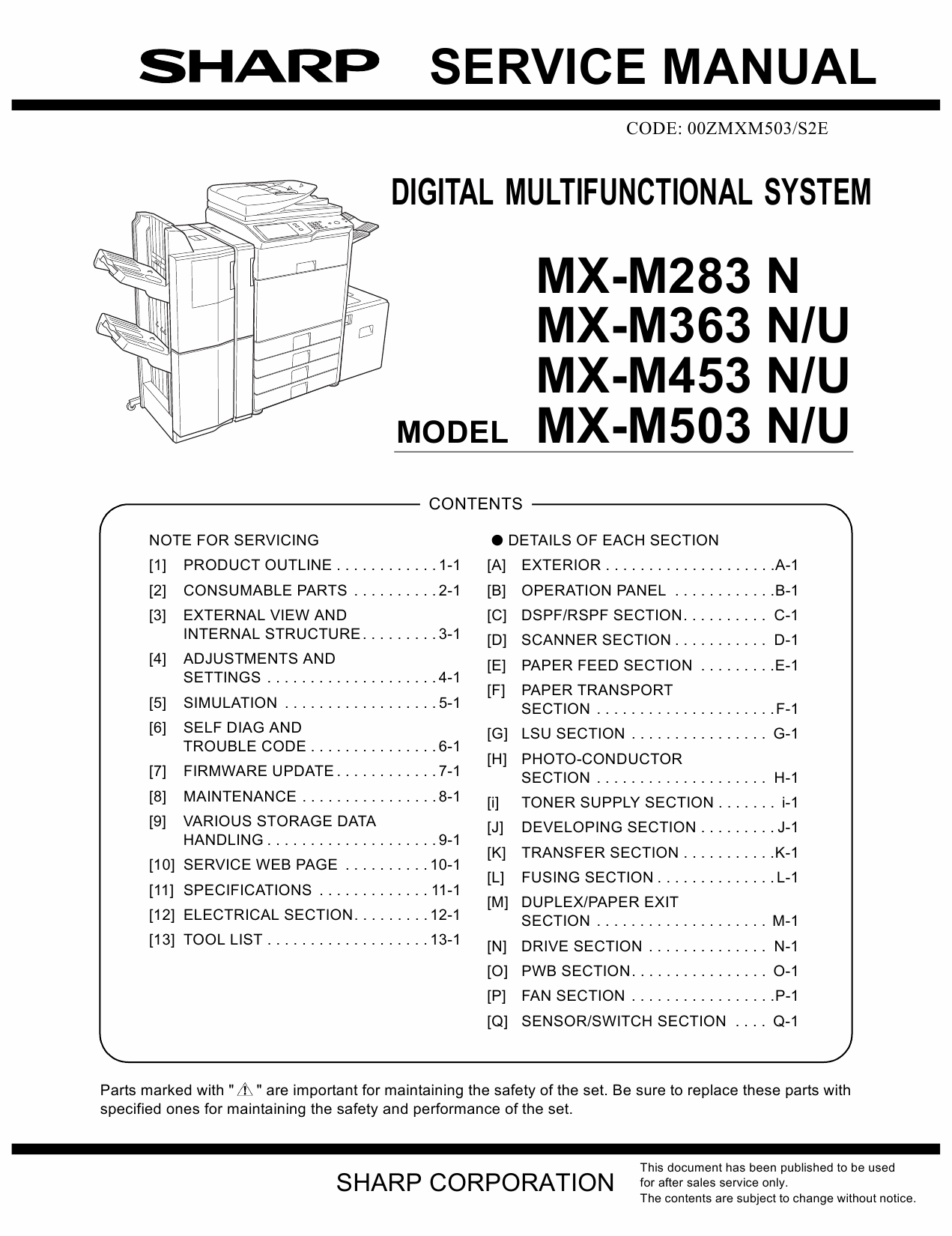 SHARP MX M283 M363 M453 M503 N U Service Manual-1